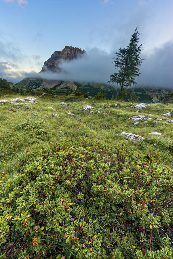 Mount Averau at sunset with clouds and fog, Falzarego Pass, Dolomites, Italy royalty free stock photos