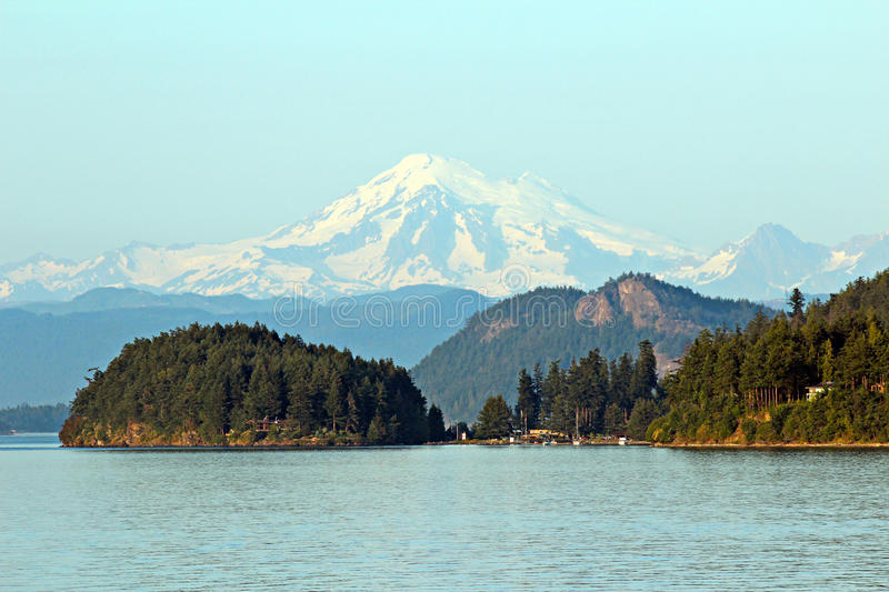 Mount Baker. View of Mount Baker from the San Juan Islands royalty free stock photo