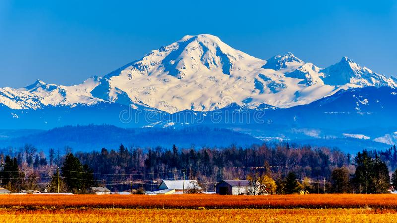 Mount Baker from Glen Valley near Abbotsford BC Canada royalty free stock photo
