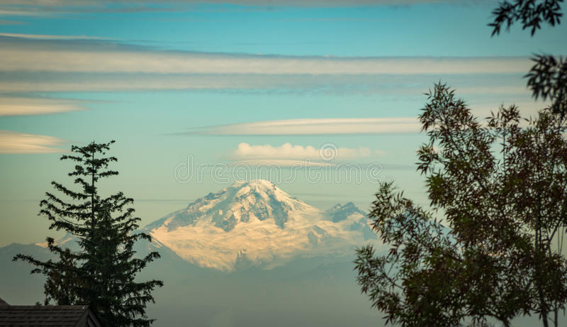 Mount Baker. Photographed with the setting sun shining on it. Frames with trees on both sides. Blue sky with a few clouds stock images