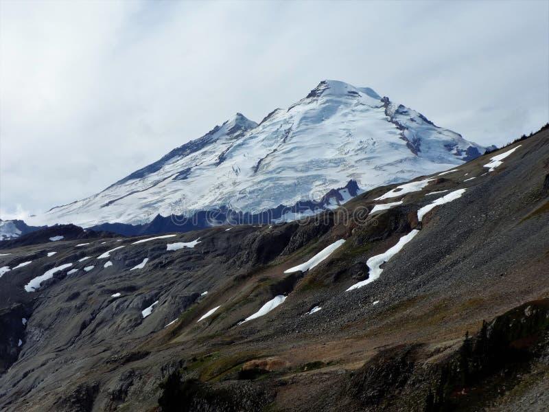 Mount Baker from Ptarmigan Ridge, Washington. Snow covered Mount Baker from Ptarmigan Ridge in fall stock image
