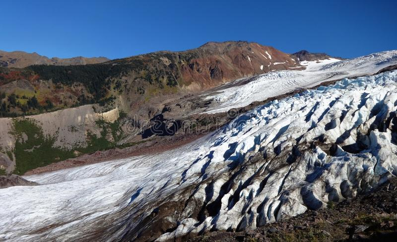 Mount Baker`s Coleman Glacier in fall. Decreased/ receding Mount Baker`s Colman Glacier in fall of 2017 royalty free stock photography