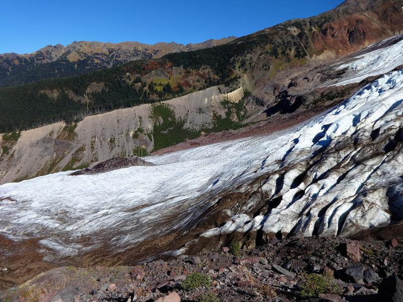 Mount Baker`s Coleman Glacier in fall. Decreased/ receding Mount Baker`s Colman Glacier in fall of 2017 stock photo