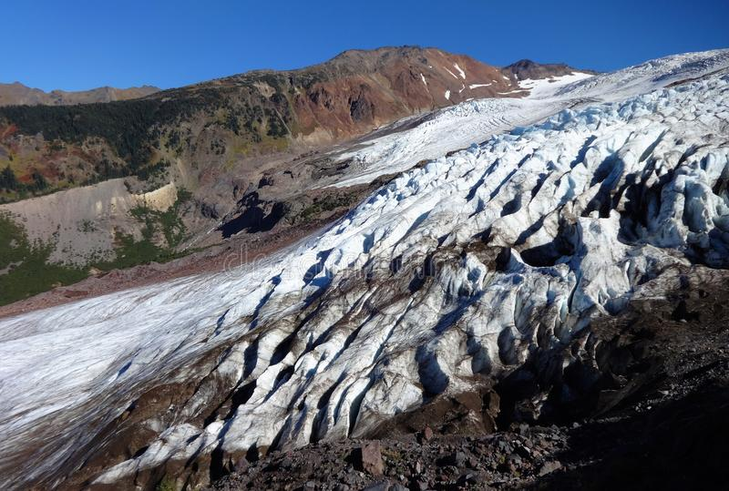 Mount Baker`s Coleman Glacier in fall. Decreased/ receding Mount Baker`s Colman Glacier in fall of 2017 royalty free stock image