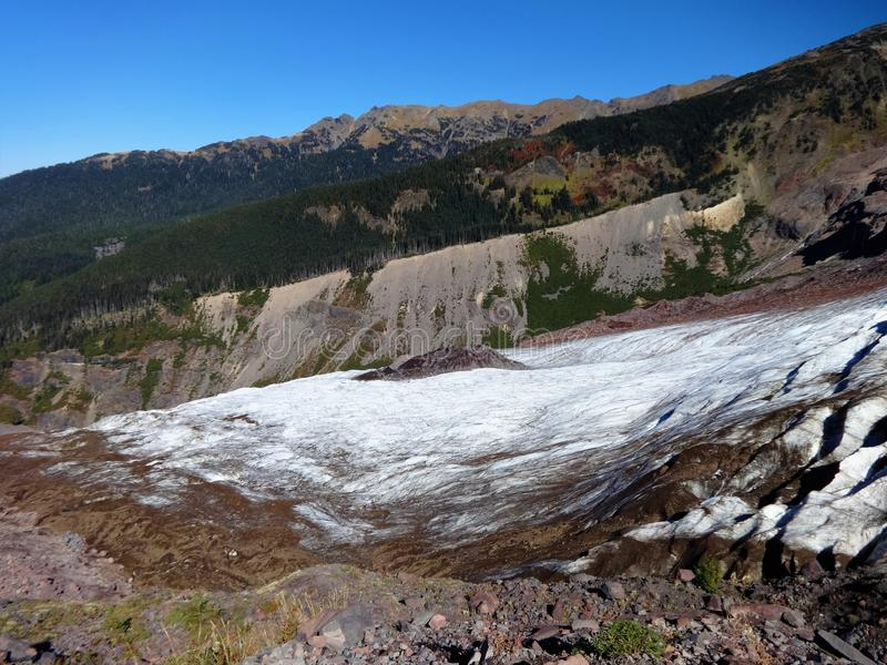 Mount Baker`s Coleman Glacier field in fall. Decreased/ receding Mount Baker`s Colman Glacier in fall of 2017 royalty free stock photos