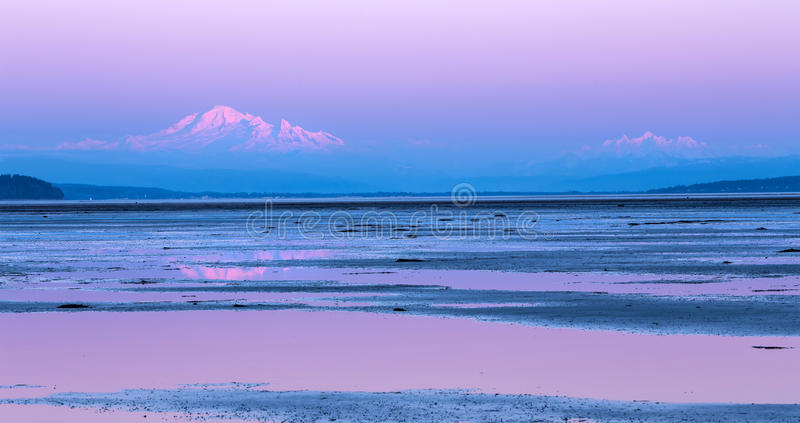 Mount Baker twilight. Mount baker in the distance from Bounday Bay, British Columbia at twilight stock photo