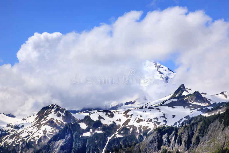 Mount Baker Under Clouds from Artist Point Washington State. Mount Baker Under Clouds from Artist Point Mount Baker Highway Snow Mountain Washington State royalty free stock photos
