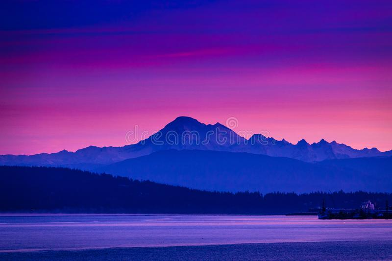 Mount Baker. View of Mount Baker at dawn in Anacortes, WA, USA royalty free stock image