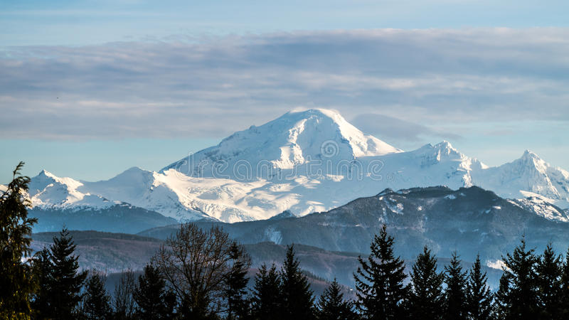 Mount Baker Viewed from the Fraser Valley BC. Mount Baker, a dormant volcano, in Washinton State as seen from the Fraser Valley in British Columbia royalty free stock images