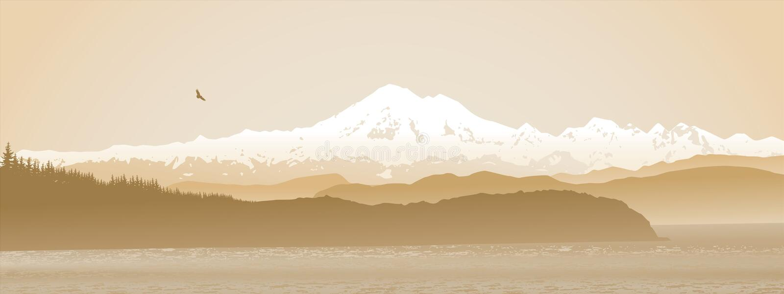 Mount Baker, Washington State panoramic in sepia royalty free illustration