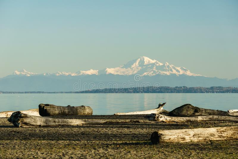 Mount Baker in Washington state view from Canada on an autumn day. Mountain snow volcano cascade ice landscape nature travel blue sky cold fresh glaciers hill royalty free stock photo