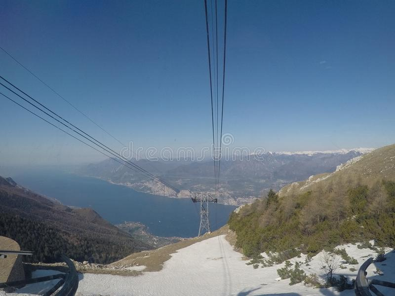Mount Baldo cableway. Mount Baldo on Garda Lake - panorama from the second station of cableway royalty free stock photography
