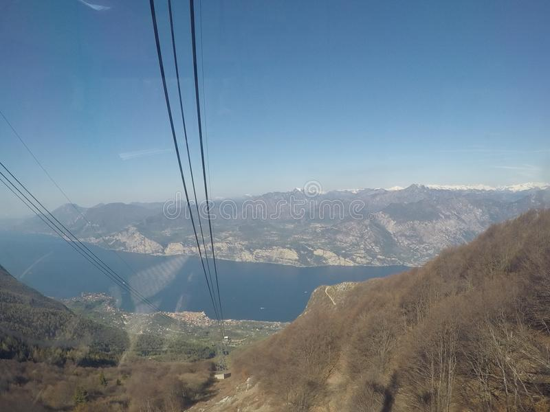 Mount Baldo cableway. Mount Baldo on Garda Lake - panorama from the second station of cableway stock images