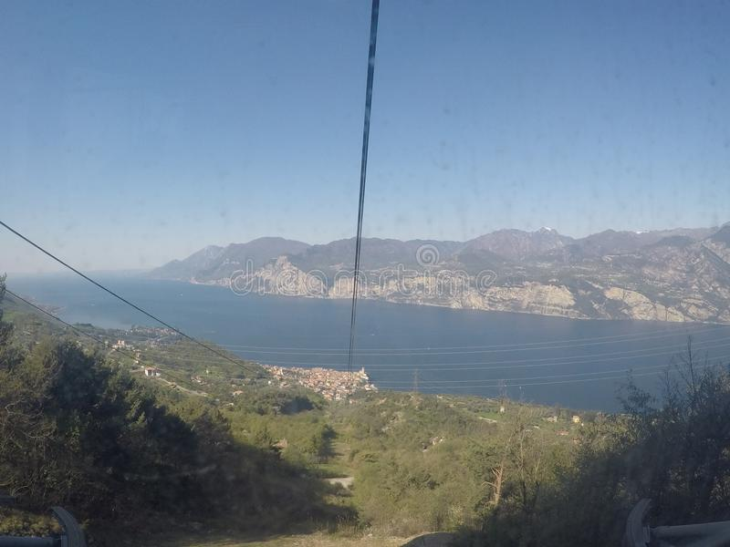 Mount Baldo cableway. Mount Baldo on Garda Lake - panorama from the second station of cableway stock photo