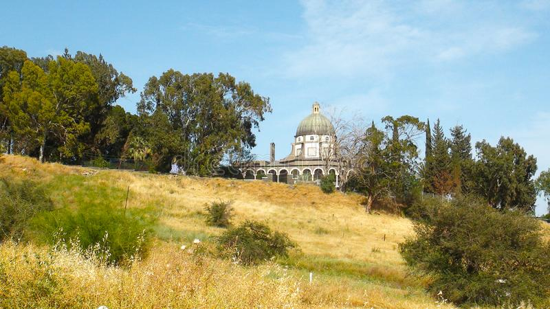 Mount of Beatitudes Church of The Beatitudes with view on Sea of Galilee, Israel royalty free stock photography