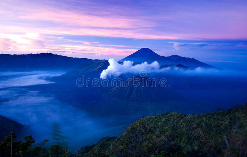 Mount Bromo. At sunrise taken at 4-am at the morning in East Java, Indonesia royalty free stock photo