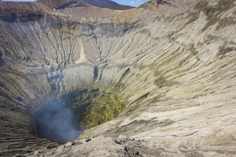 Mount Bromo active volcano crater view. Beautiful mount Bromo volcano crater view from north cliff, taken in August 2018, East Java, Indonesia stock images