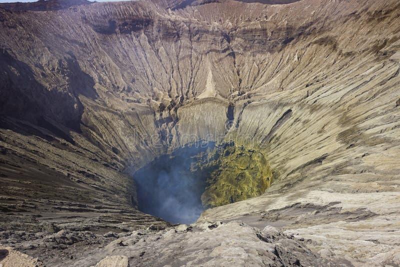 Mount Bromo active volcano crater view. Beautiful mount Bromo volcano crater view from north cliff, taken in August 2018, East Java, Indonesia stock photo