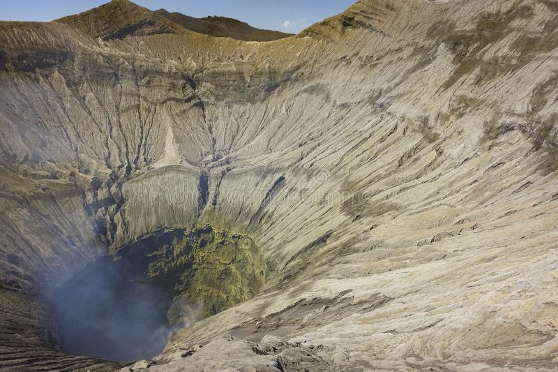 Mount Bromo active volcano crater view. Beautiful mount Bromo volcano crater view from north cliff, taken in August 2018, East Java, Indonesia stock photography