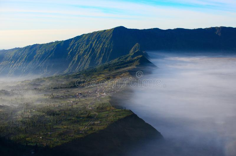 Mount Bromo, is an active volcano and part of the Tengger massif, in East Java, Indonesia. . Mount Bromo, is an active volcano and part of the Tengger massif stock photography
