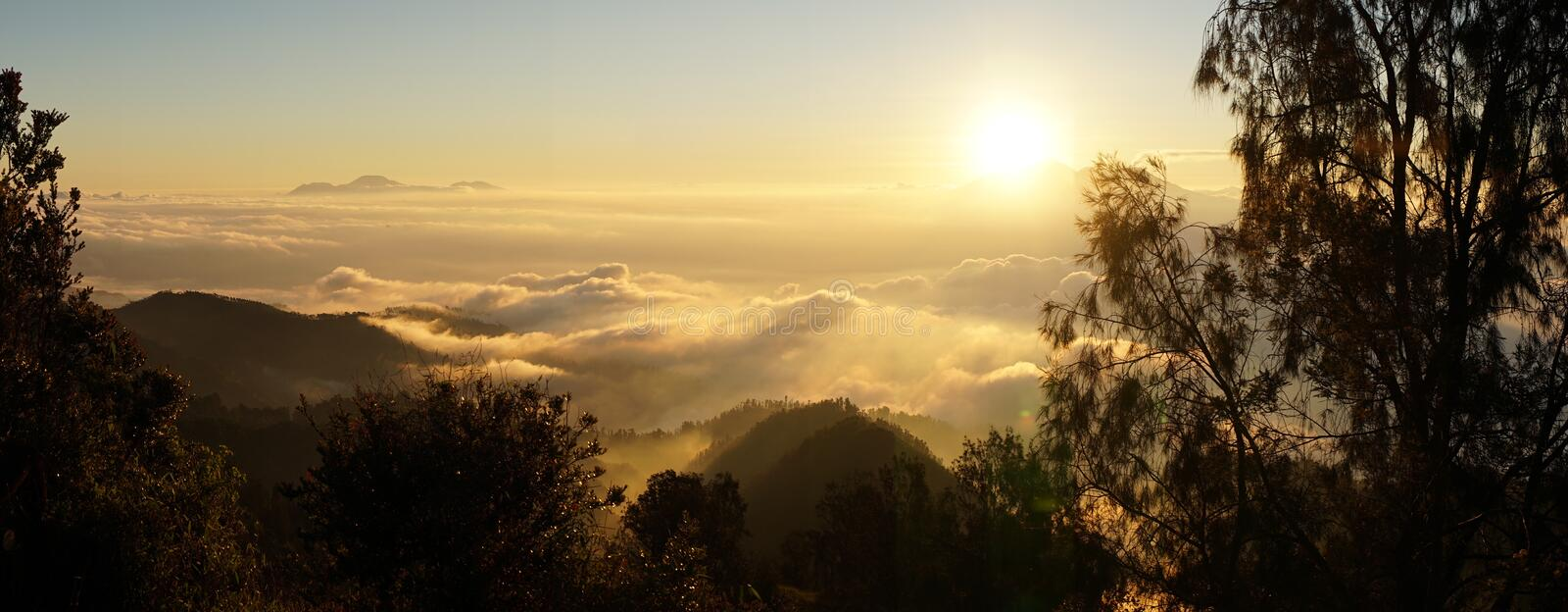 Mount Bromo active volcano within the sea of sands in the Bromo-Tengger-Semeru National Park, Indonesia.  royalty free stock photo