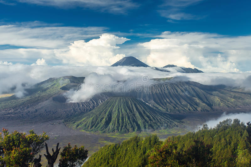Mount Bromo and Batok volcanoes in Bromo Tengger Semeru Park. Mount Bromo and Batok volcanoes in Bromo Tengger Semeru National Park, East Java, Indonesia royalty free stock image