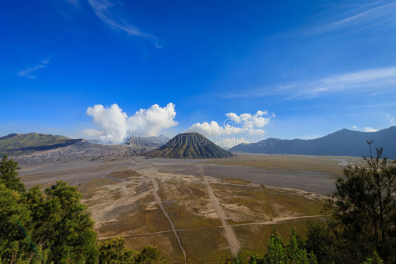 Mount Bromo and Mount Batok in East Java royalty free stock photos