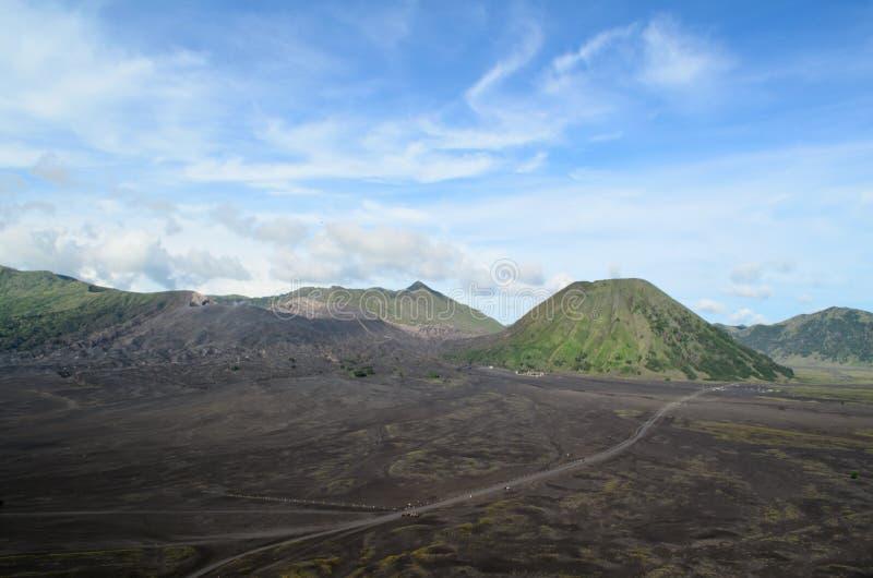 Mount Bromo and Mount Batok stock images