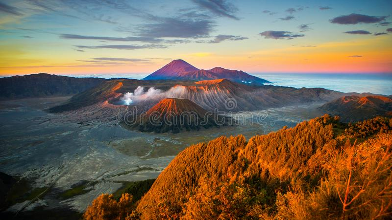 Mount Bromo. Is an active volcano and part of the Tengger massif, in East Java, Indonesia stock images