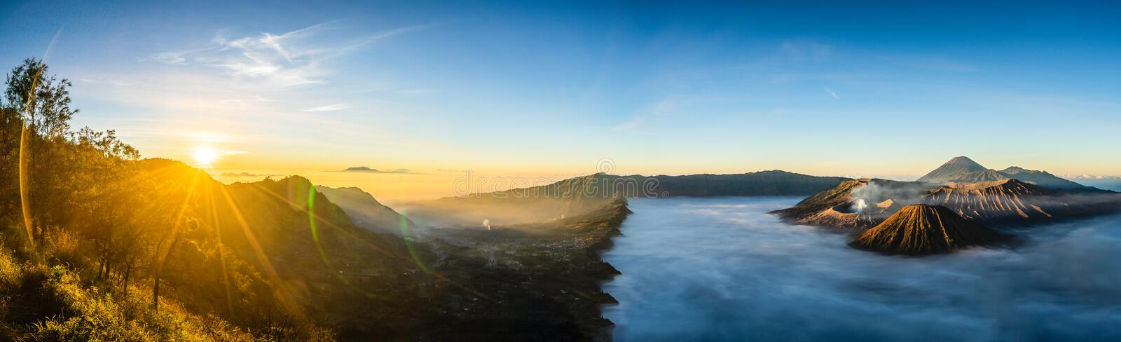 Mount Bromo with Sun Rise in Panorama at Java, Indonesia stock image