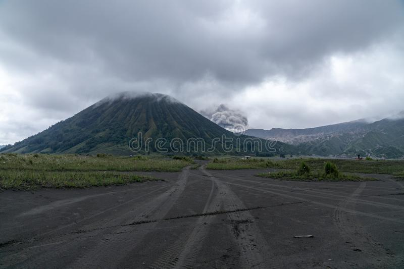 Mount Bromo Tengger Semeru located in Malang Lumajang Pasuruan Probolinggo East Java Indonesia. This is Mount Bromo Tengger Semeru located in Malang Lumajang stock photo