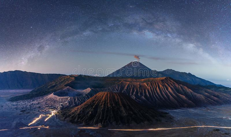 Mount Bromo volcanic at night with starry sky and milky way in Indonesia royalty free stock image