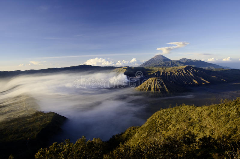Mount Bromo Volcano. After eruption, Indonesia, Java royalty free stock photos