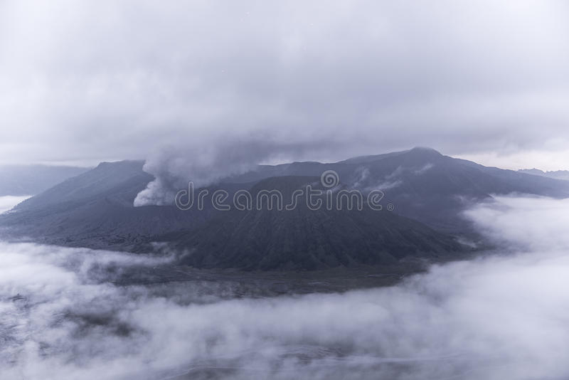 Mount Bromo volcano during dawn. The magnificent view of Mt. Bromo located in Bromo Tengger Semeru National Park, East Java, Indonesia royalty free stock photo
