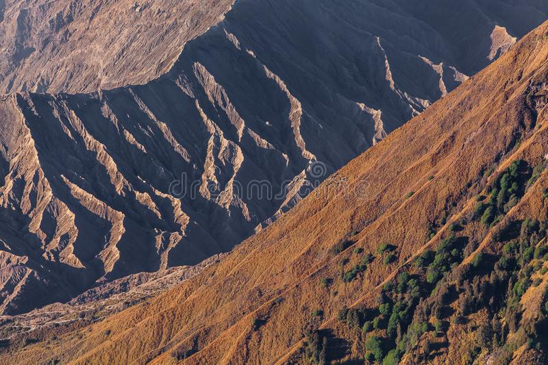 Mount Bromo volcano (Gunung Bromo) during sunrise from viewpoint on Mount Penanjakan, in East Java, Indonesia stock photography
