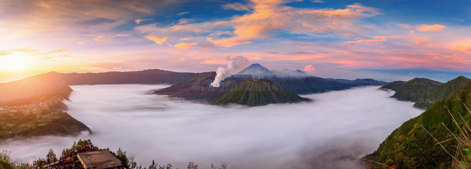 Ount Bromo volcano Gunung Bromo during sunrise from viewpoint on Mount Penanjakan in Bromo Tengger Semeru National Park stock photography