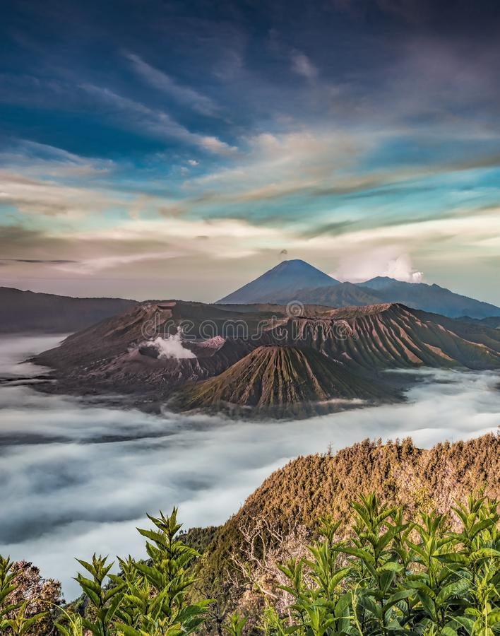 Mount Bromo Volcano is the most famous place for tourism in Indonesia stock photo