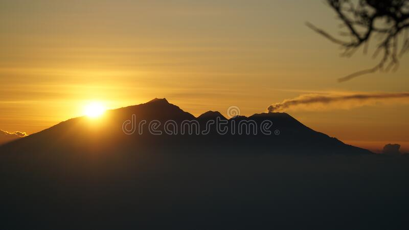 Mount Bromo Volcano during sunrise at Bromo-Tengger-Semeru National Park on Java Island, Indonesia.  royalty free stock image