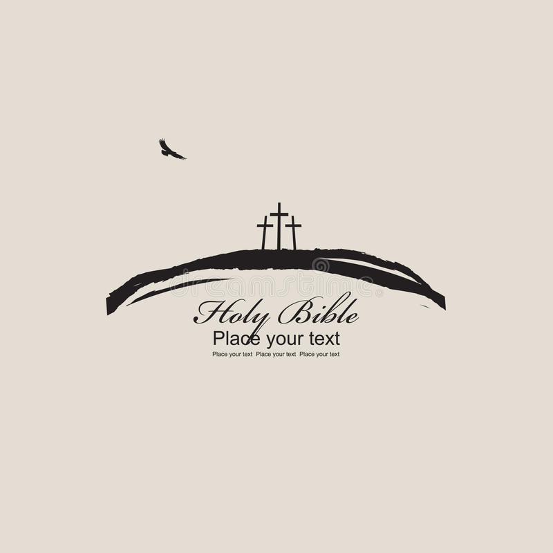 Mount Calvary with three crosses. Bird and inscription Holy Bible on beige background vector illustration