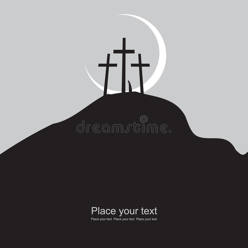 Mount Calvary. With three crosses at night under the moon royalty free illustration
