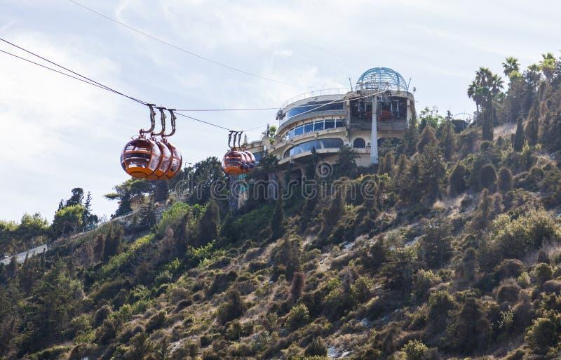 Mount Carmel Cable car. Haifa. Israel. Mount Carmel Cable car. It mainly used by tourists. Connects Moun Carmel monastery and Bat Galim promenade. Haifa. Israel stock images
