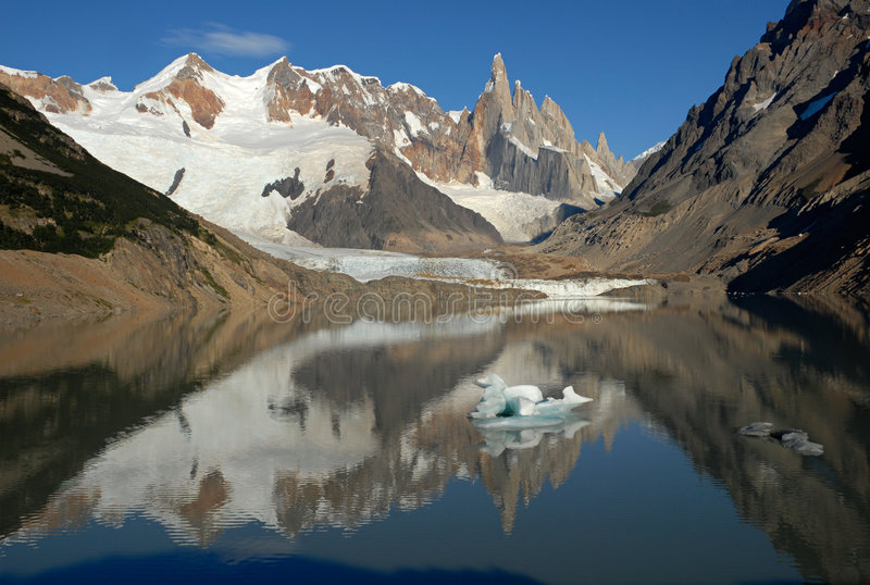 Mount Cerro Torre from lake Torre royalty free stock photography