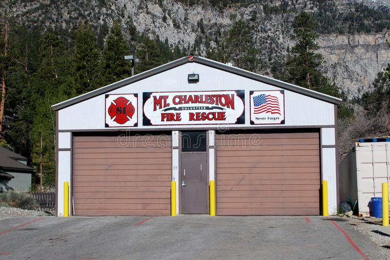 MOUNT CHARLESTON FIRE DEPARTMENT. The Mount Charleston Volunteer Fire Department of Clark County Nevada`s firehouse royalty free stock image