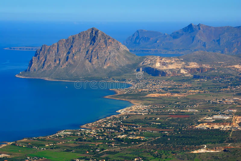 Mount Cofano in Sicily. Elevated view of Cofano taken from the medieval village of Erice stock image