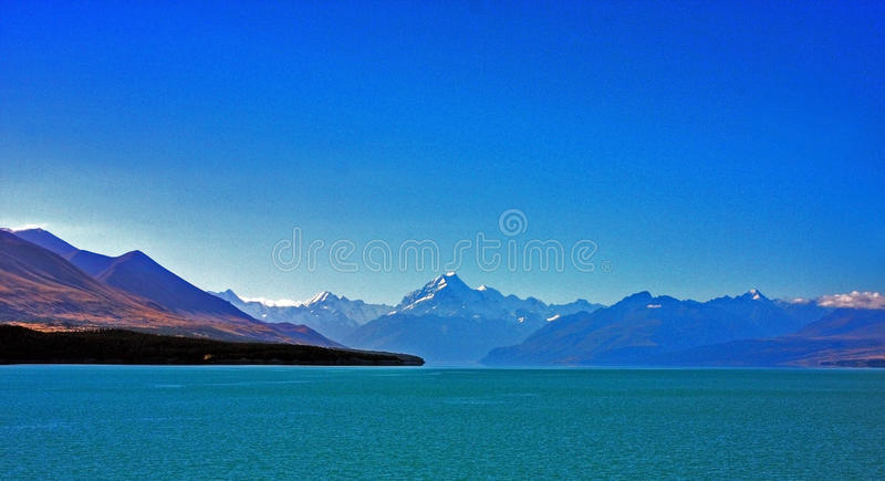 Mount Cook. In New Zealand on a blue day stock photo
