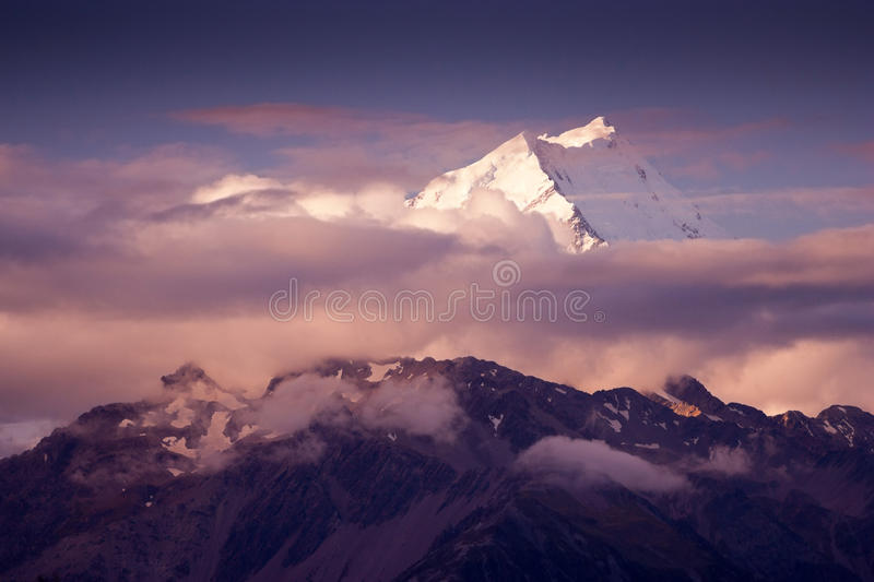 Mount Cook, NZ. View of Mount Cook in New Zealand stock photography