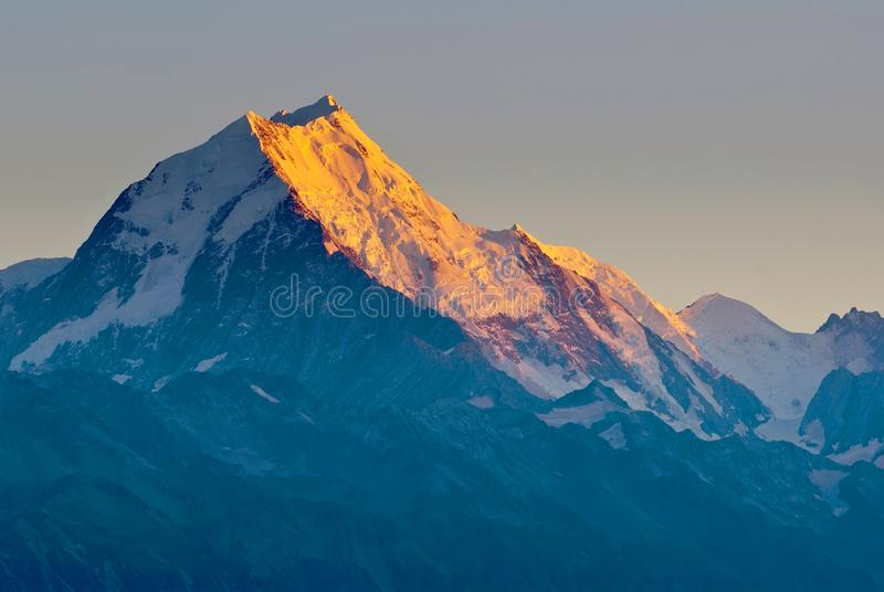 Mount Cook summit in Aoraki Mount Cook National Park, South Island, New Zealand. royalty free stock photo