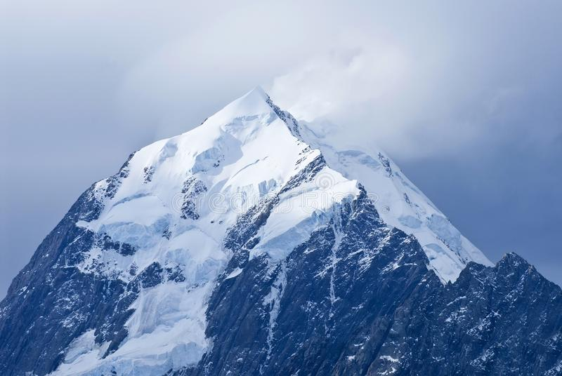 Mount Cook summit in Aoraki Mount Cook National Park, South Island, New Zealand. stock image