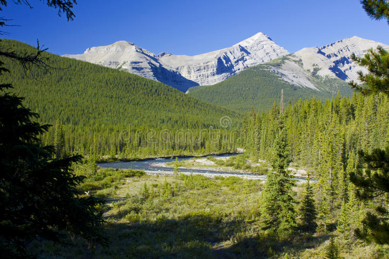 Mount Cornwall and Glasgow. Little Elbow river and mountains Cornwall and Glasgow in Kananaskis area of the Rocky Mountains Alberta stock image