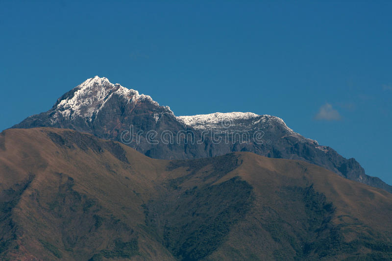 Mount Cotacachi. The snow covered peak of the dormant volcano, Mount Cotacachi, against a clear blue sky in the Andes Mountains in Ecuador royalty free stock image